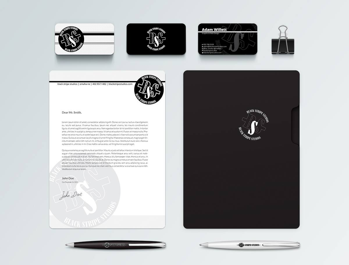 A small audio studio was in need of some ideas for a full branding. I threw together just a single mock-up with a whipped up logo and some collateral to boot.