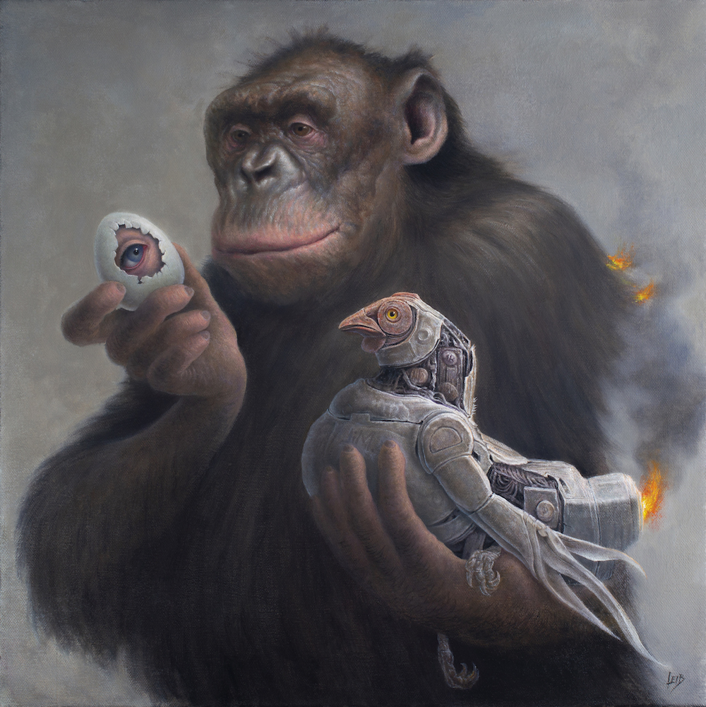 The Primate Directive - Opens August 10th @ Beinart Gallery, Melbourne.The Primate Directive is an exhibition of new oil paintings by Chris Leib. In this series, Leib continues to examine our precarious path started long ago, through his cast of wise, tolerant bonobos and rambunctious astronaut children. While seemingly whimsical, the paintings are laden with hidden meaning and explore themes of heroism, Western folklore, and the schism of instinct and control. Weaving through the meticulous detail in these paintings, threads of symbols and narrative point to a collision trajectory of power, privacy and technology that threatens our delicate position in the evolutionary scheme.Opening Night: Saturday, August 10th, from 6 - 9 pm. Free entry.This exhibition will be on view from August 11th to September 1st, concurrently with Cinta Vidal's solo show,