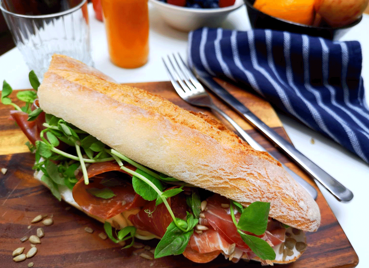 freshly prepared for your event / parma baguette