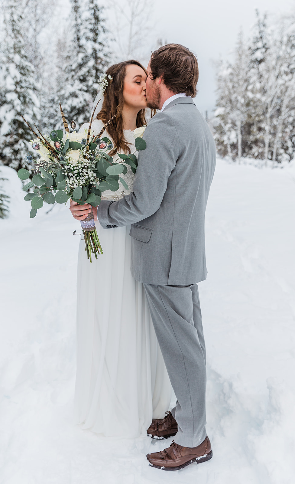 winter wedding bouquet inspiration wedding dress inspiration winter wedding goals beautiful couple man and wife cache valley winter destinations professional photographer tony's grove kissing couple wedding aesthetic inspiration wedding #winterwedding #formals #tony'sgrove #cachevalley #snowcoveredtrees #bellaalderphotography #professionalphotographer #winterwonderland #couplegoals #weddingattire