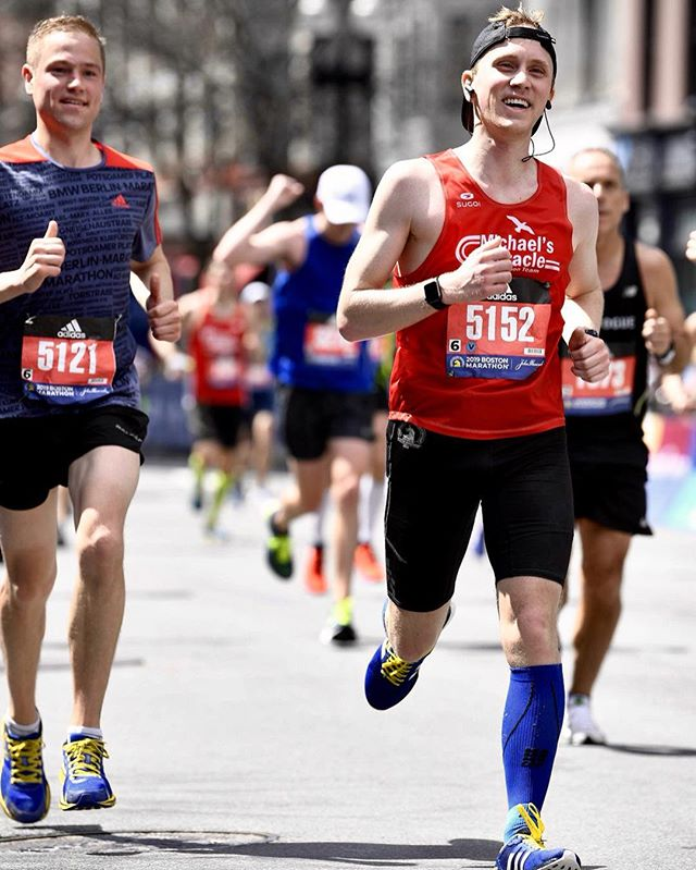 """Show life that you have a thousand reasons to smile."" My heart is still smiling from an epic return to Boston! 7 months ago I broke my back running the Berlin Marathon. The recovery was long and frustrating but with the help of my coach @michael_crouch88 I was able to reclaim the starting line healthy and finish the race at the @bostonmarathon! My fitness is still coming back but the Boylston finish on Monday was just as sweet as ever. HUGE thanks to everyone who supported @hopkintonrespite and donated over $15,000 to this marathon journey!! You are all my heroes 💙💛"