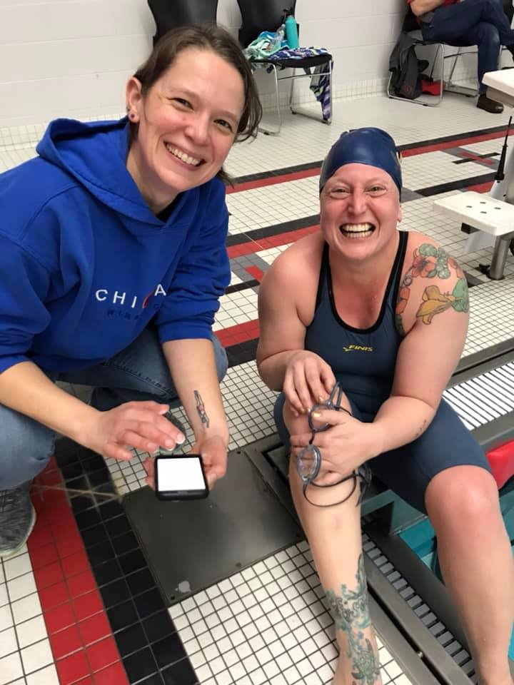 We also love to swim in the Big Shoulders Open Water swim and other open water swims. Some of us swim weekly in Lake Michigan in warmer months.