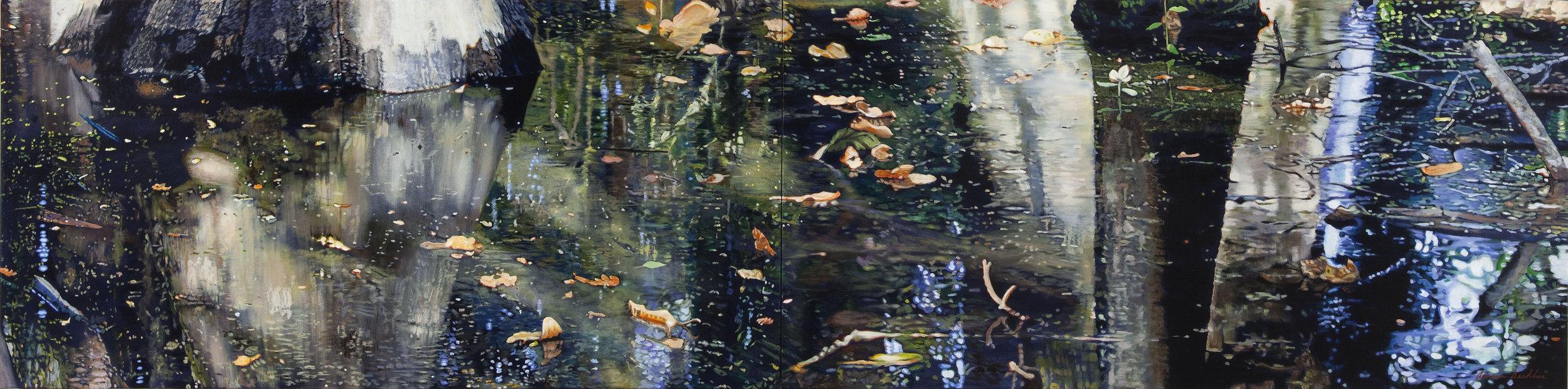 """Water's Edge III , acrylic, 24"""" x 96"""", 2010"""