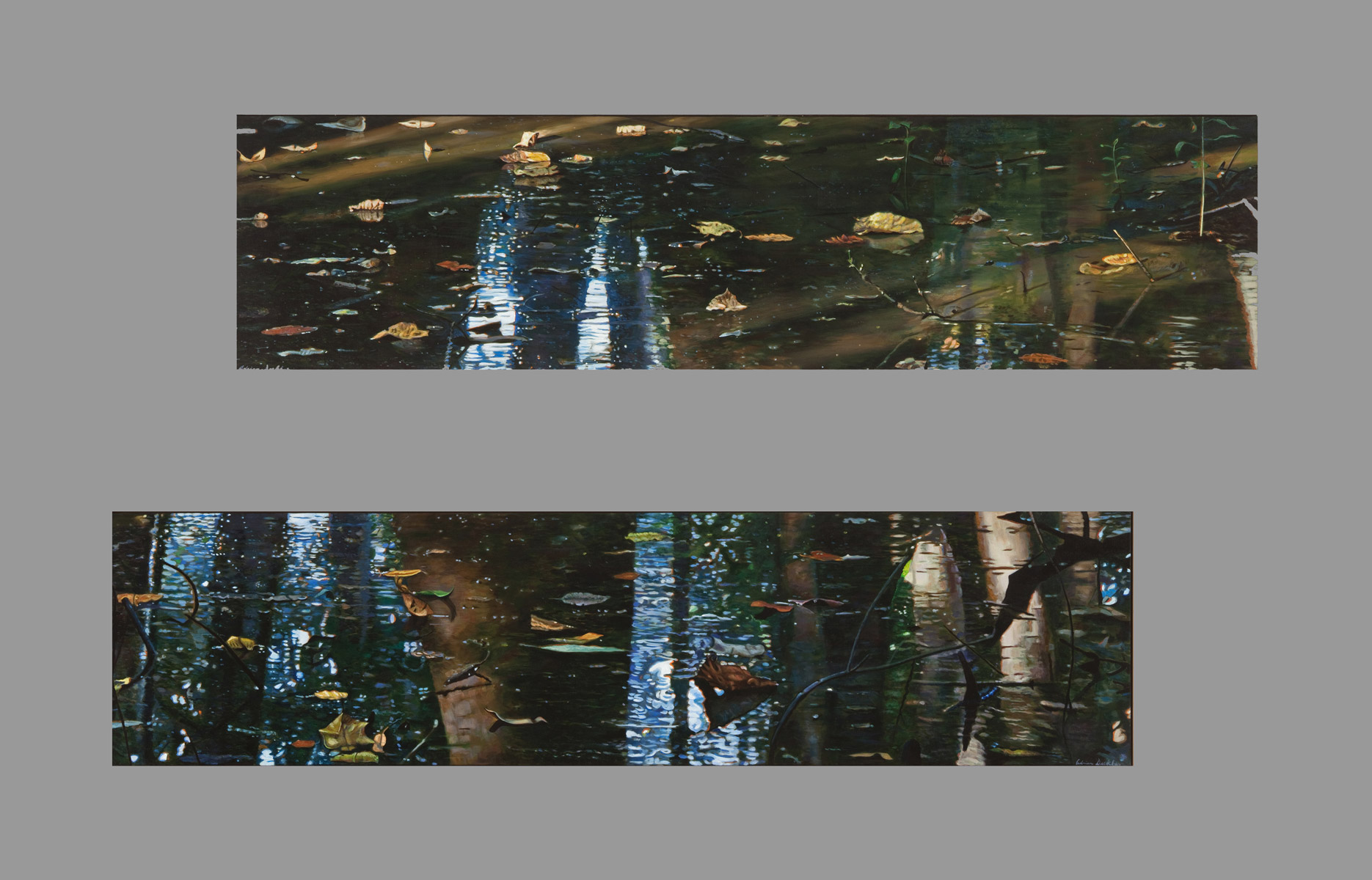 "Surface Depth I and II , acrylic, 56"" x 120"", 2014"