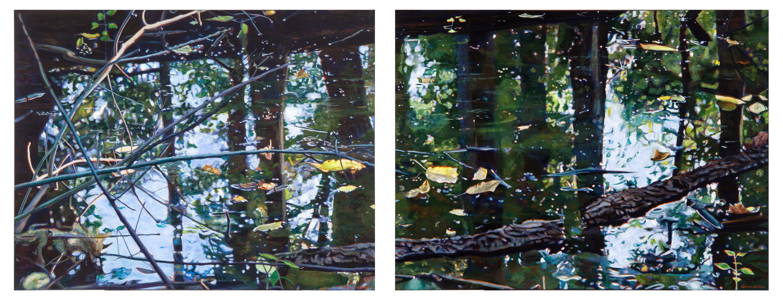 "Undercurrents I and II , acrylic, 24"" x 98"", 2011"