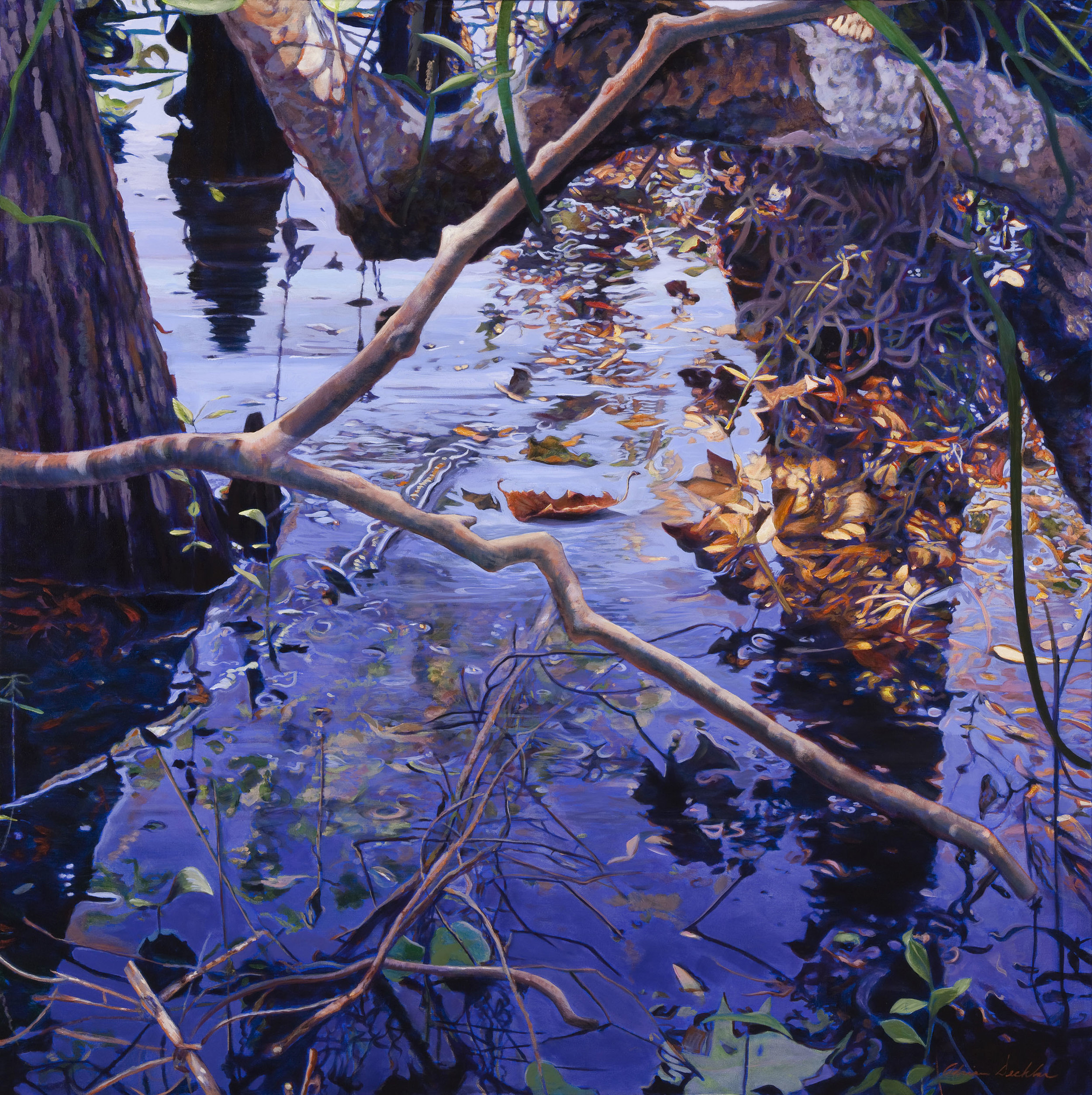 "Water's Edge , acrylic, 48"" x 48"", 2010"