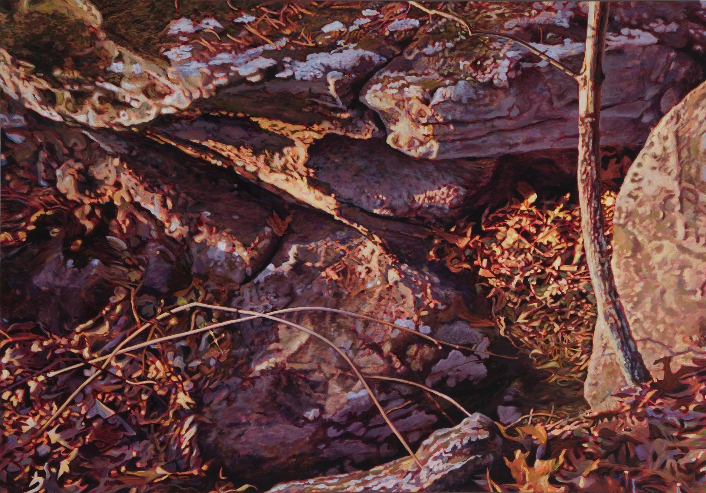 "Rock Face , oil over acrylic, 52"" x 72"", 2007"