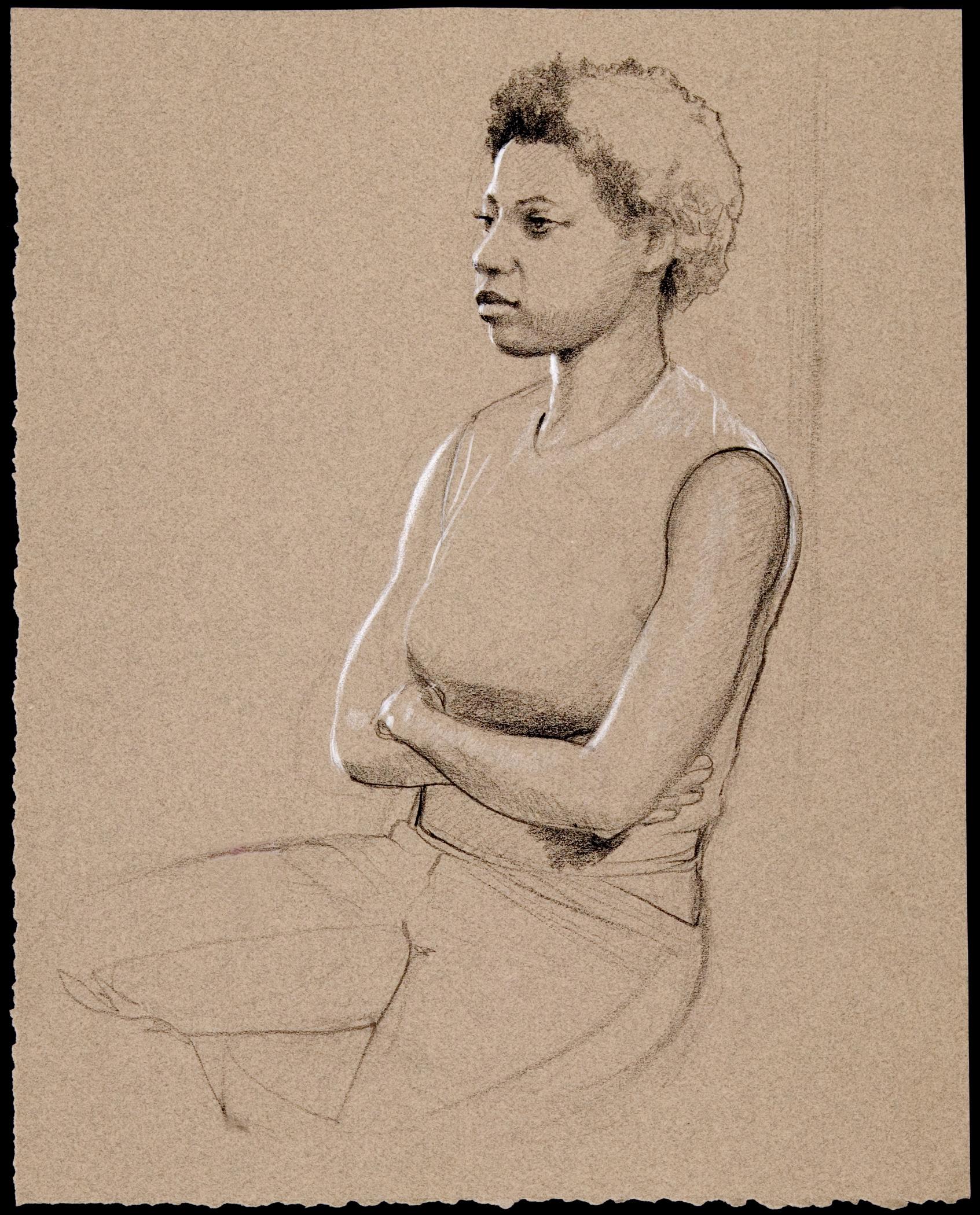 """Figure Sketch , conté on toned paper, 15"""" x 13"""", 1998"""