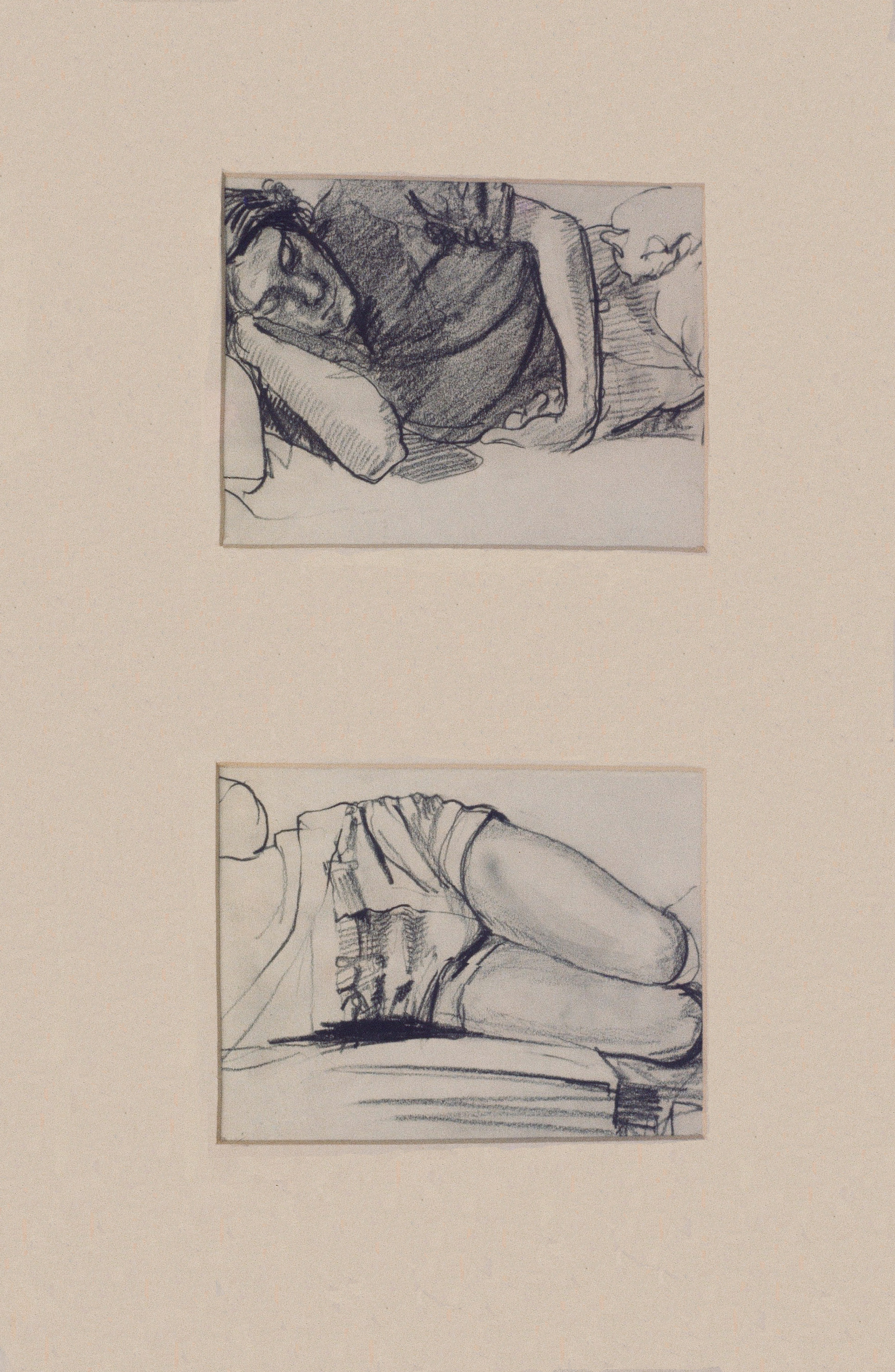 "David Sleeping , graphite, 15"" x 8"", 1971"