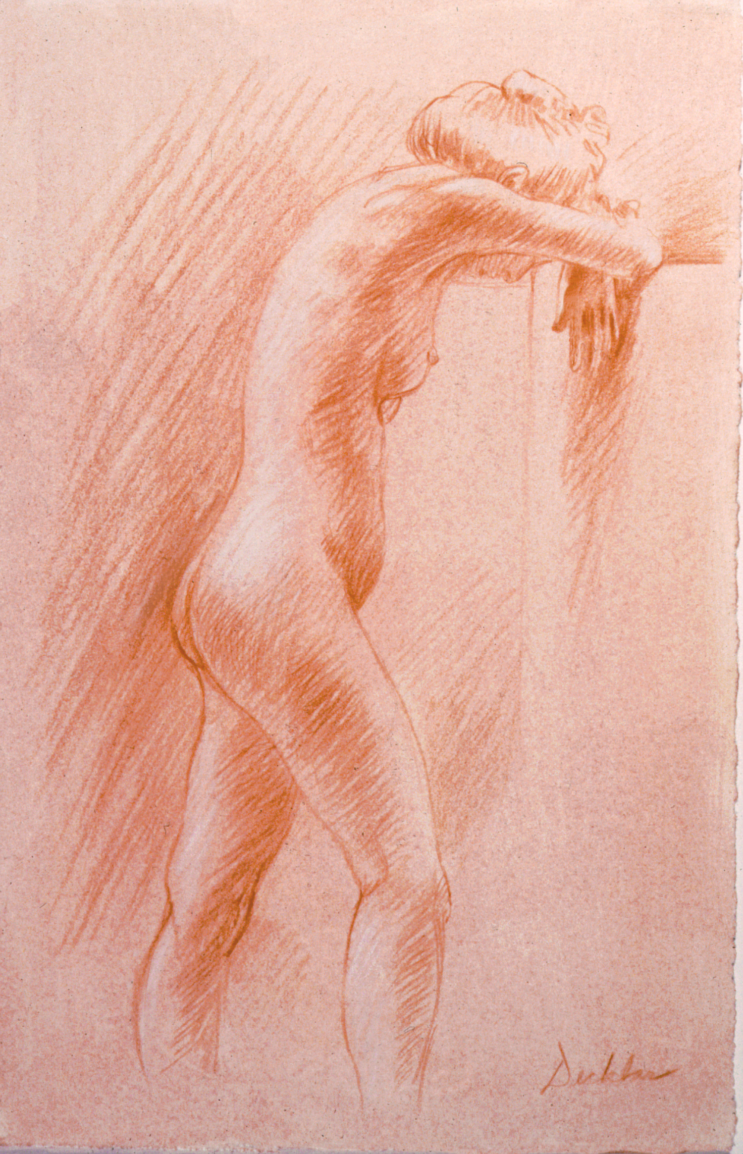 """Standing Nude , conté on toned paper, 8.5"""" x 6"""", 1992"""