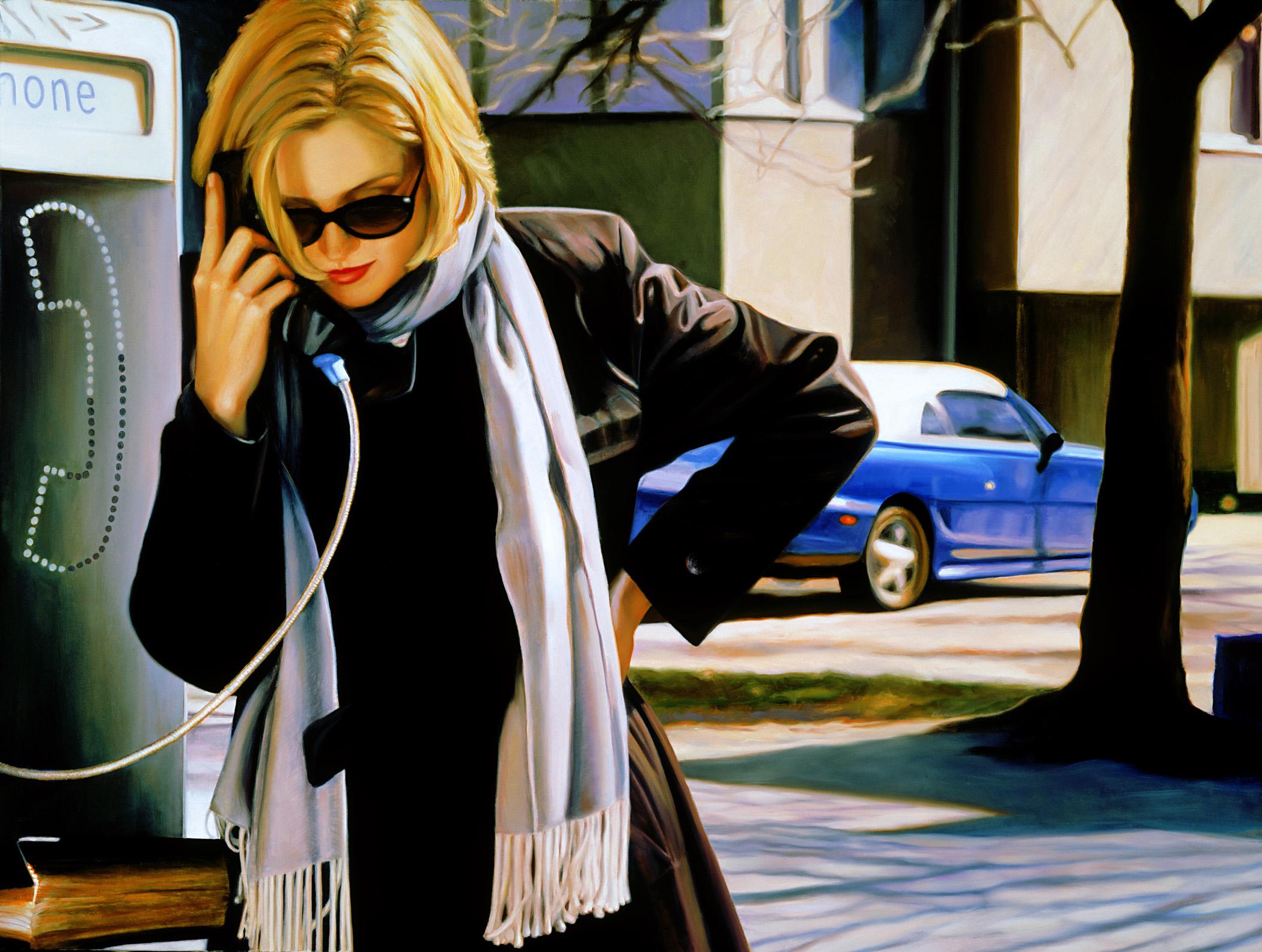 "Private Phone Call , oil, 28"" x 42"", 1999"