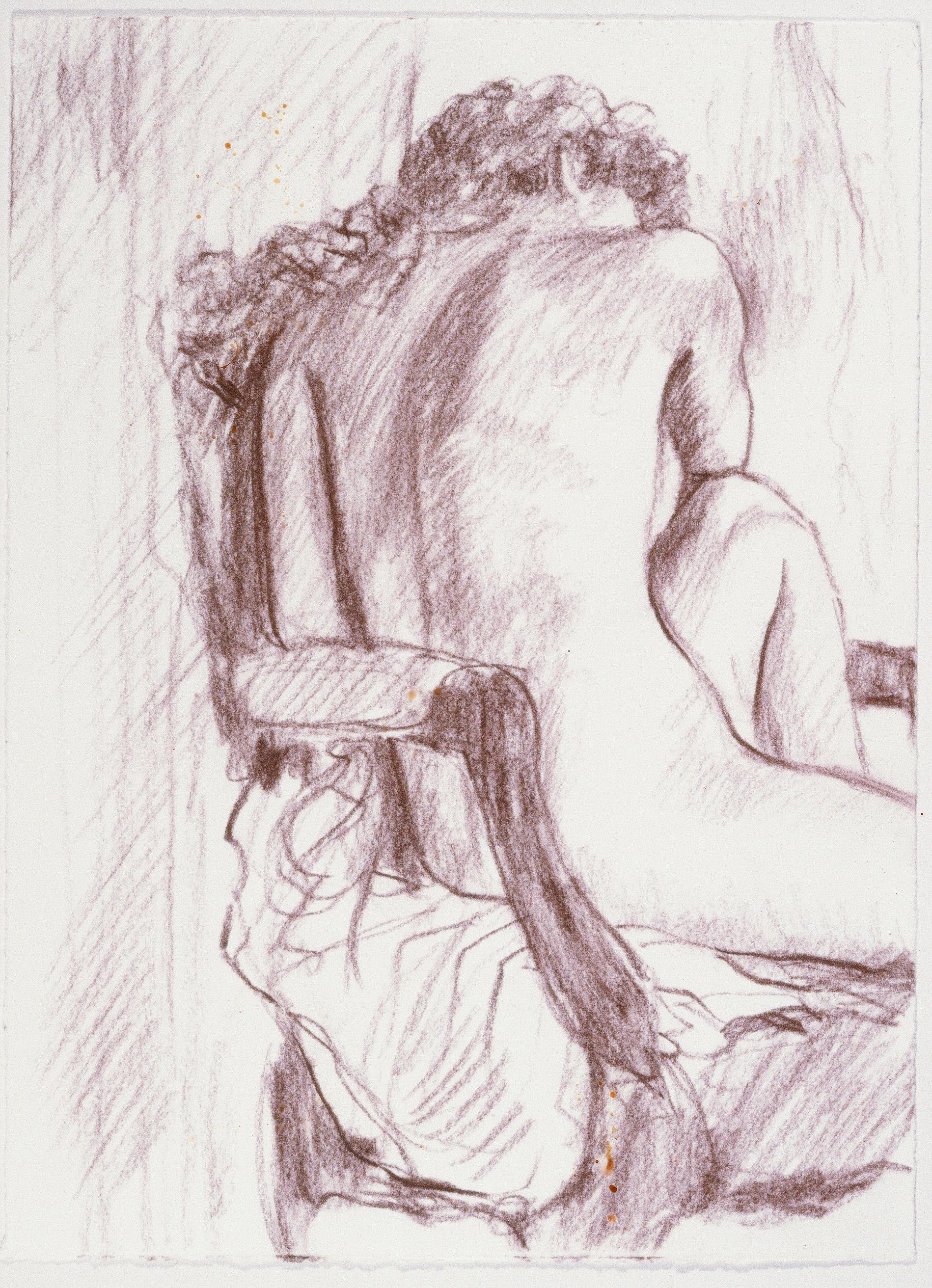 """Seated Figure II , conté, 10"""" x 14.5"""", 1992"""