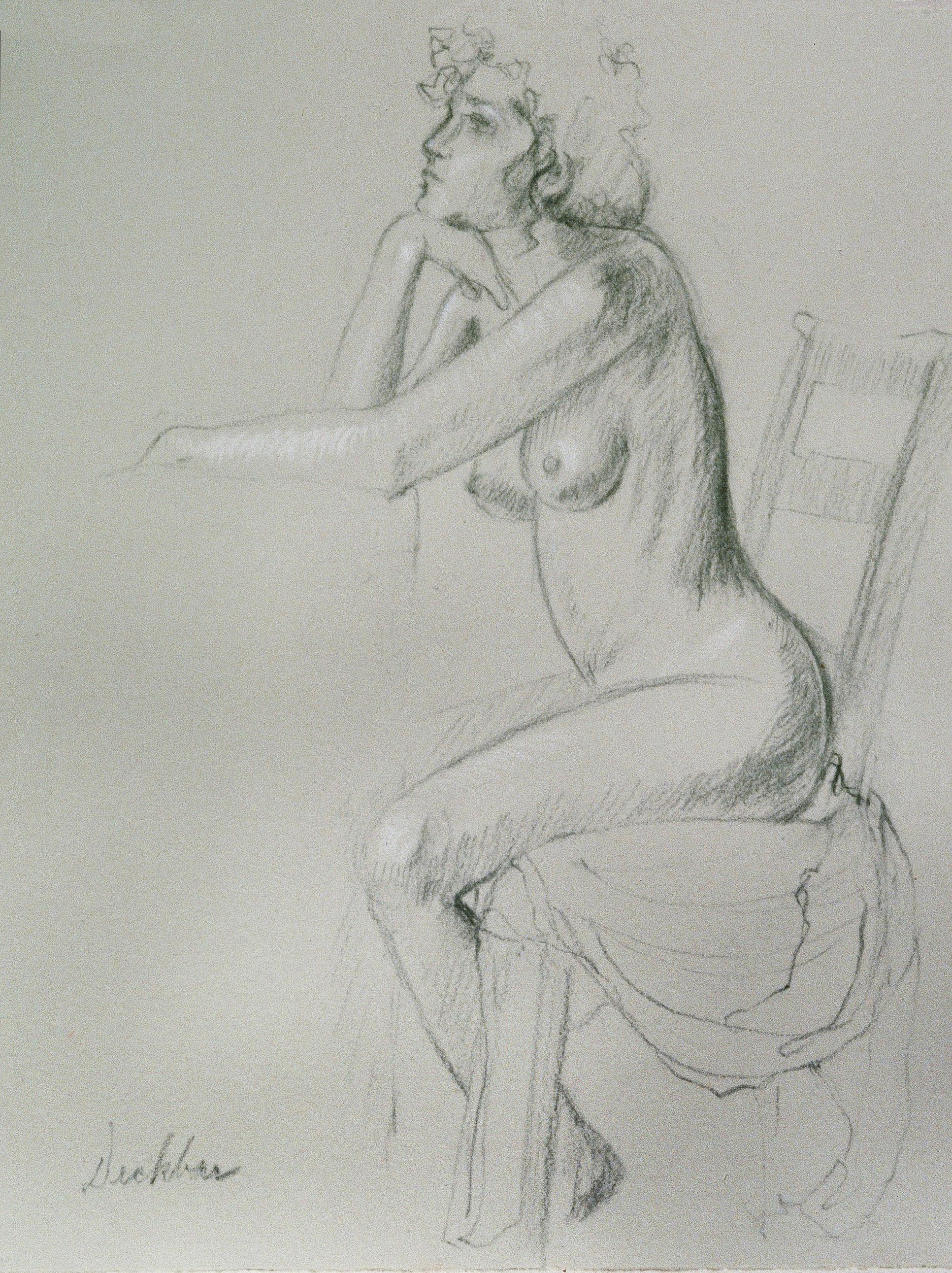 """Seated Figure I , conté, 8"""" x 11.5"""", 1993"""