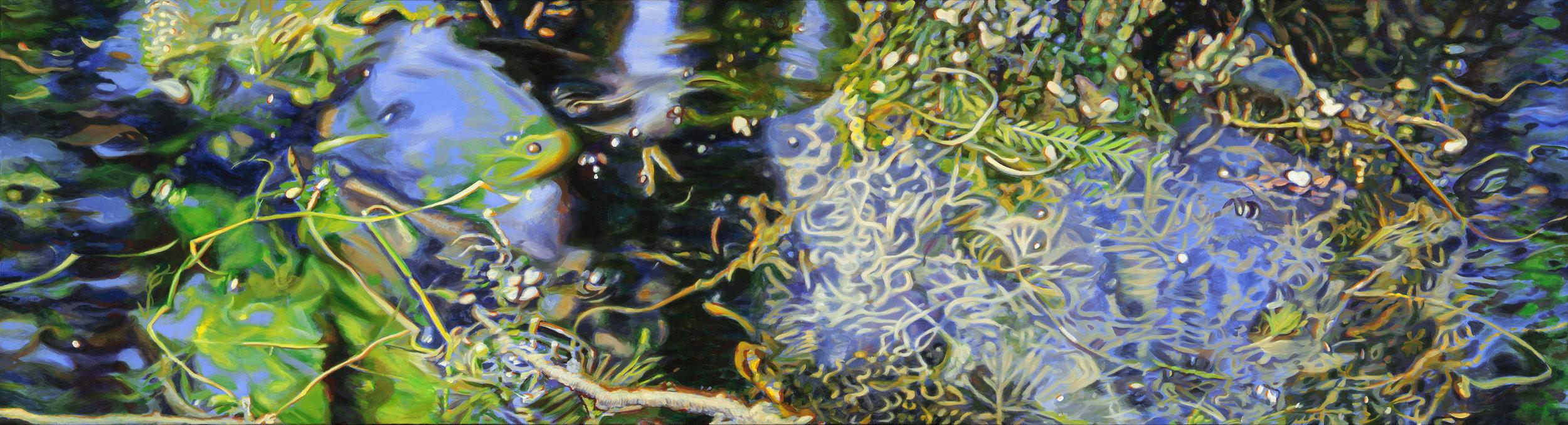 """Floating , acrylic, 66"""" x 18"""", 2014"""