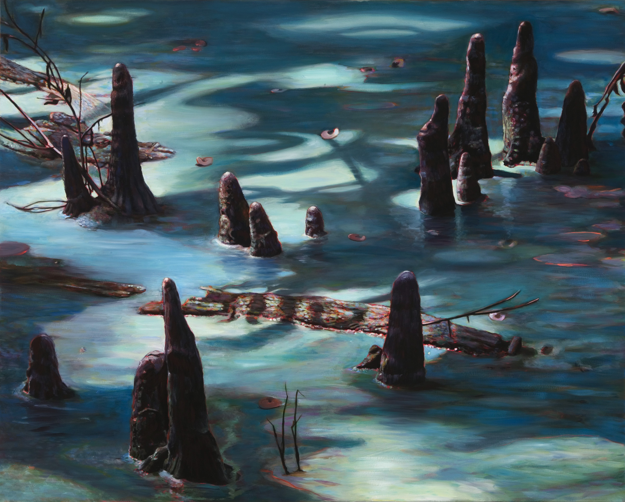 "Cypress Knees in Moonlight , oil over acrylic, 48"" x 60"", 2007"