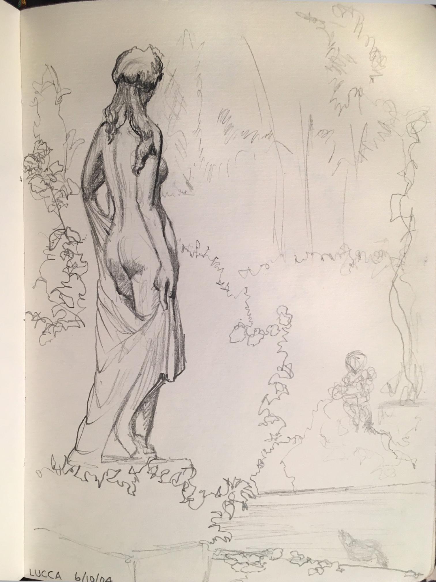 """Statue in Lucca , graphite, 6.5"""" x 4.5"""", 2004"""