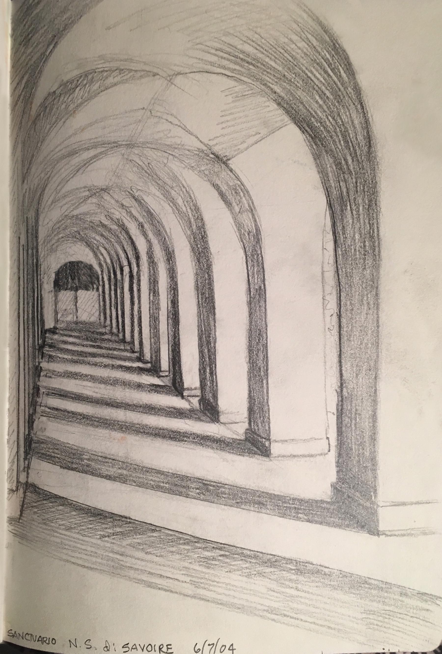 """Sanctuario , graphite, 6"""" x 4.5"""", 2004"""