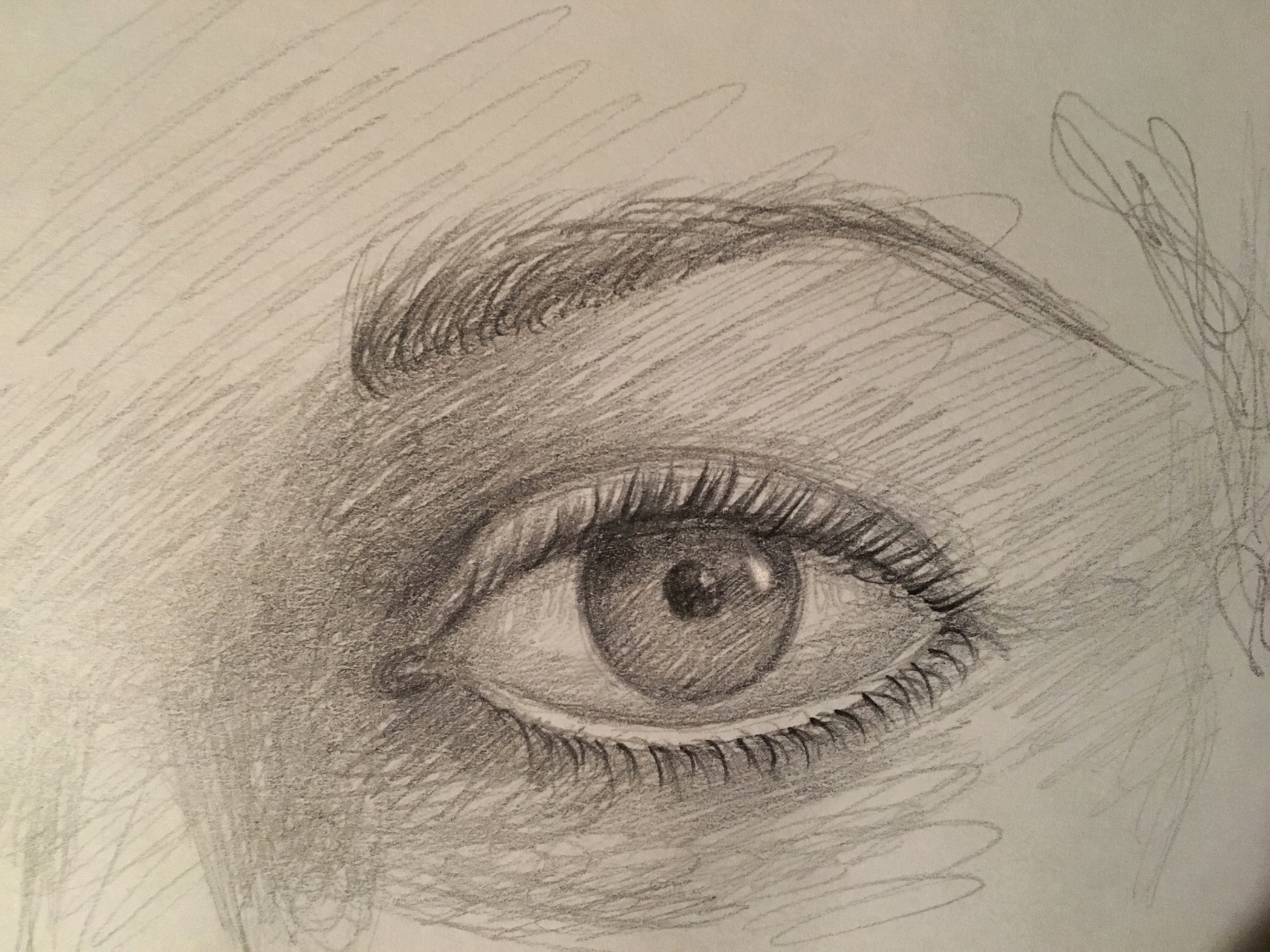 "Eye sketch , graphite, 4"" x 6"", 2018"