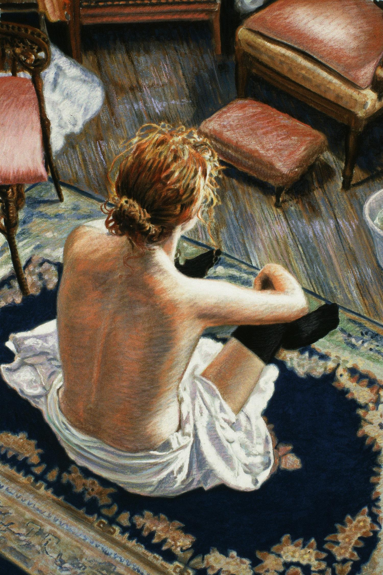 """Homage à Toulouse Lautrec , pastel over gouache, 30"""" x 20"""", 1993"""