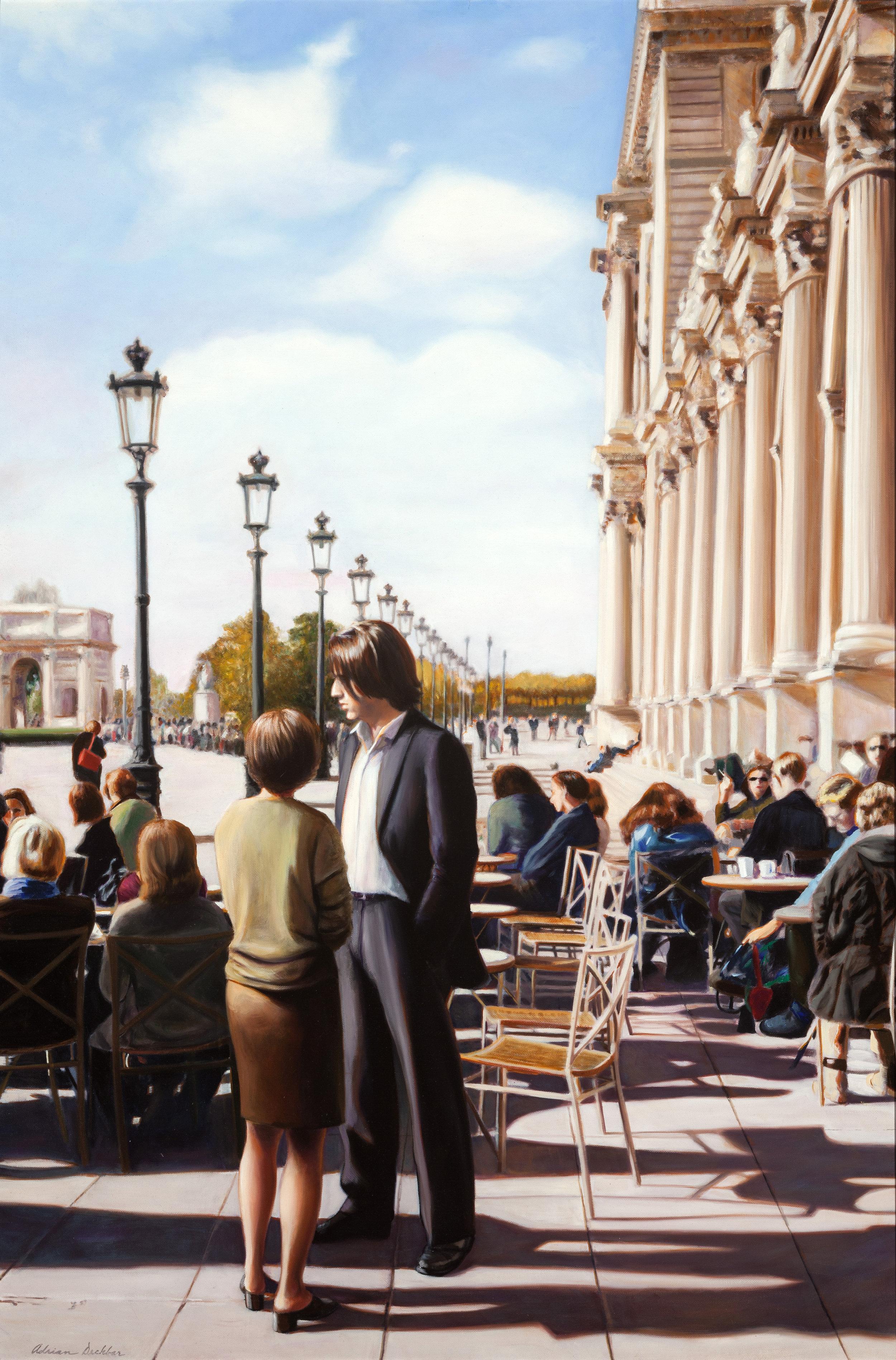 """A Man in Paris , oil, 42"""" x 28"""", 2001"""