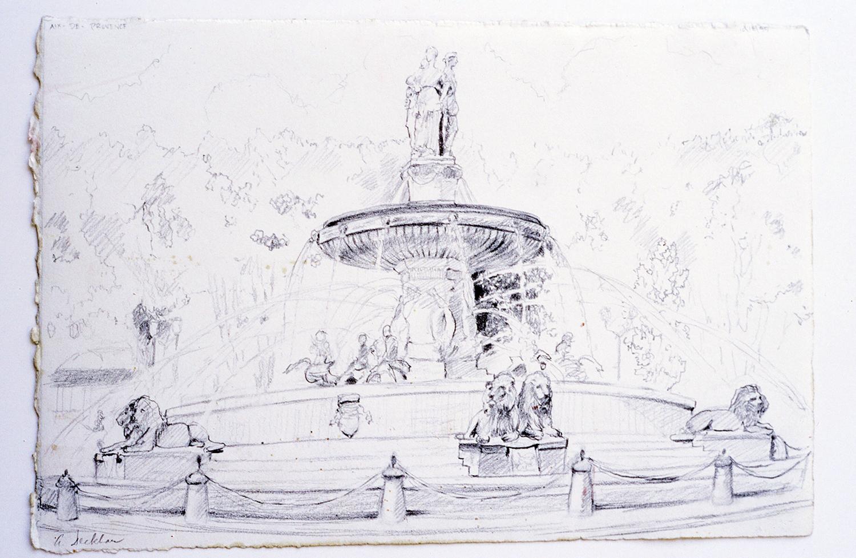 """Fountain in Aix , graphite, 7"""" x 12"""""""