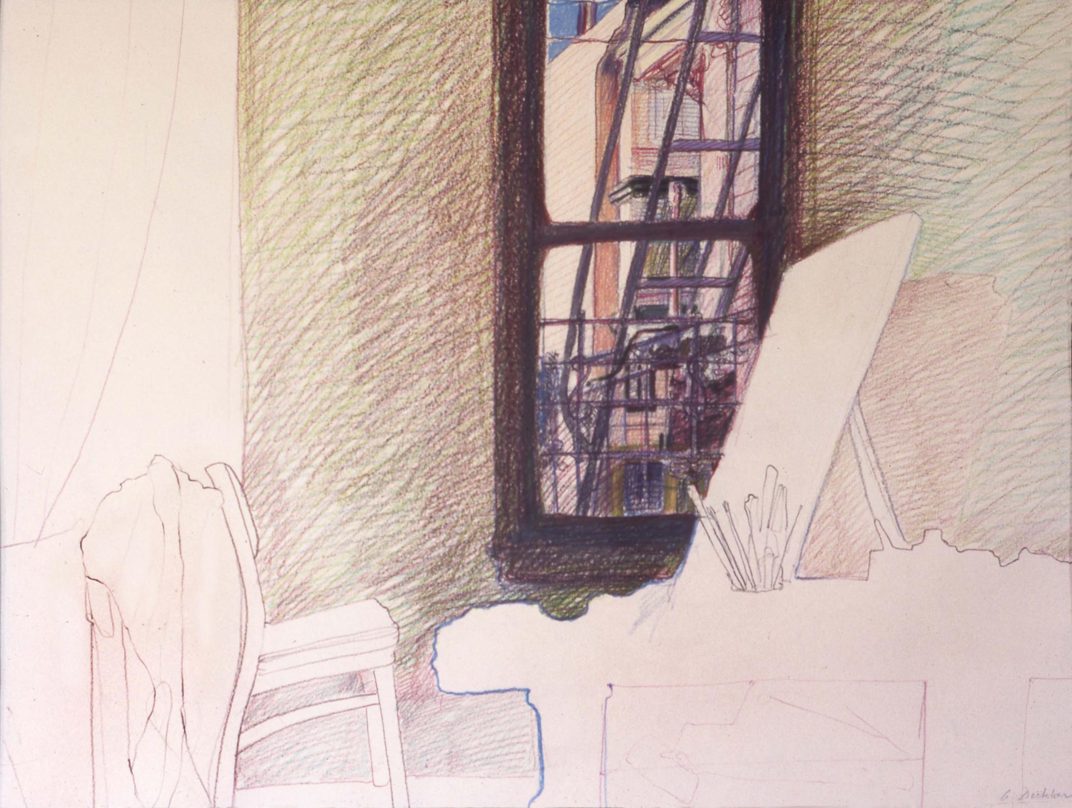 """Studio: San Francisco , prismacolor, 30"""" x 40"""", 1975"""
