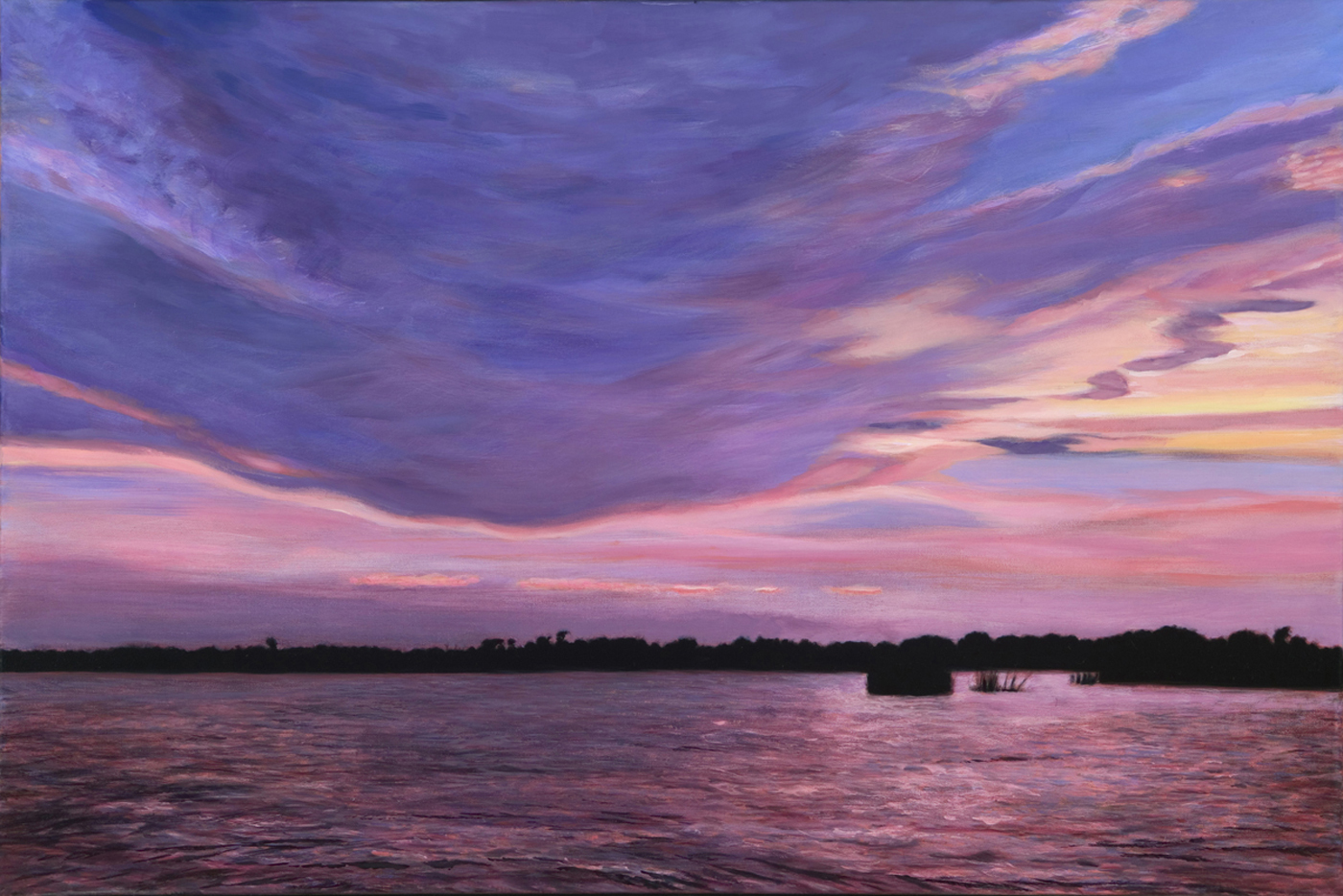 "Marsh Grass: Sunset , acrylic, 20"" x 30"", 2010"