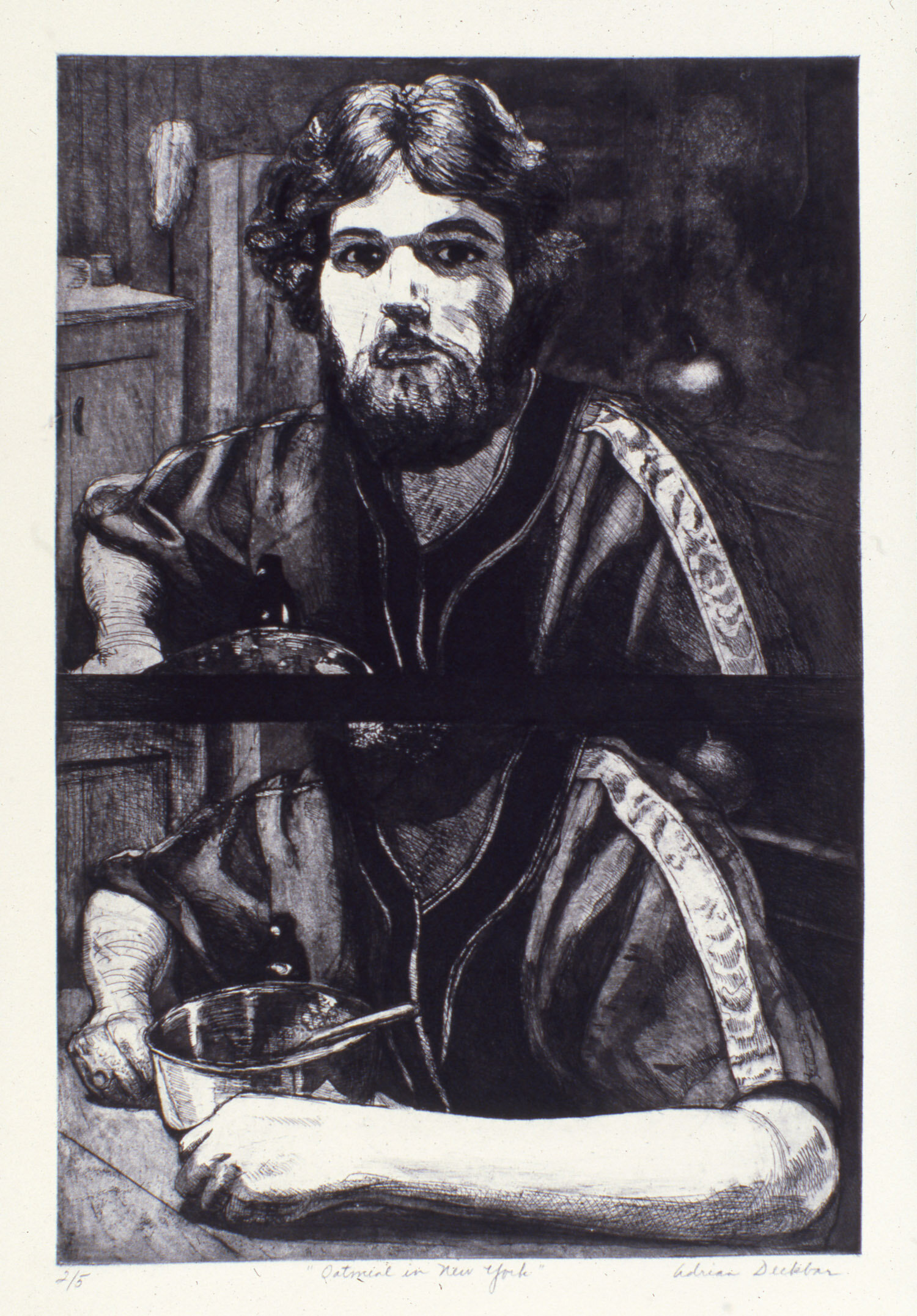 """Oatmeal in New York , etching, 24"""" x 16"""", 1975"""