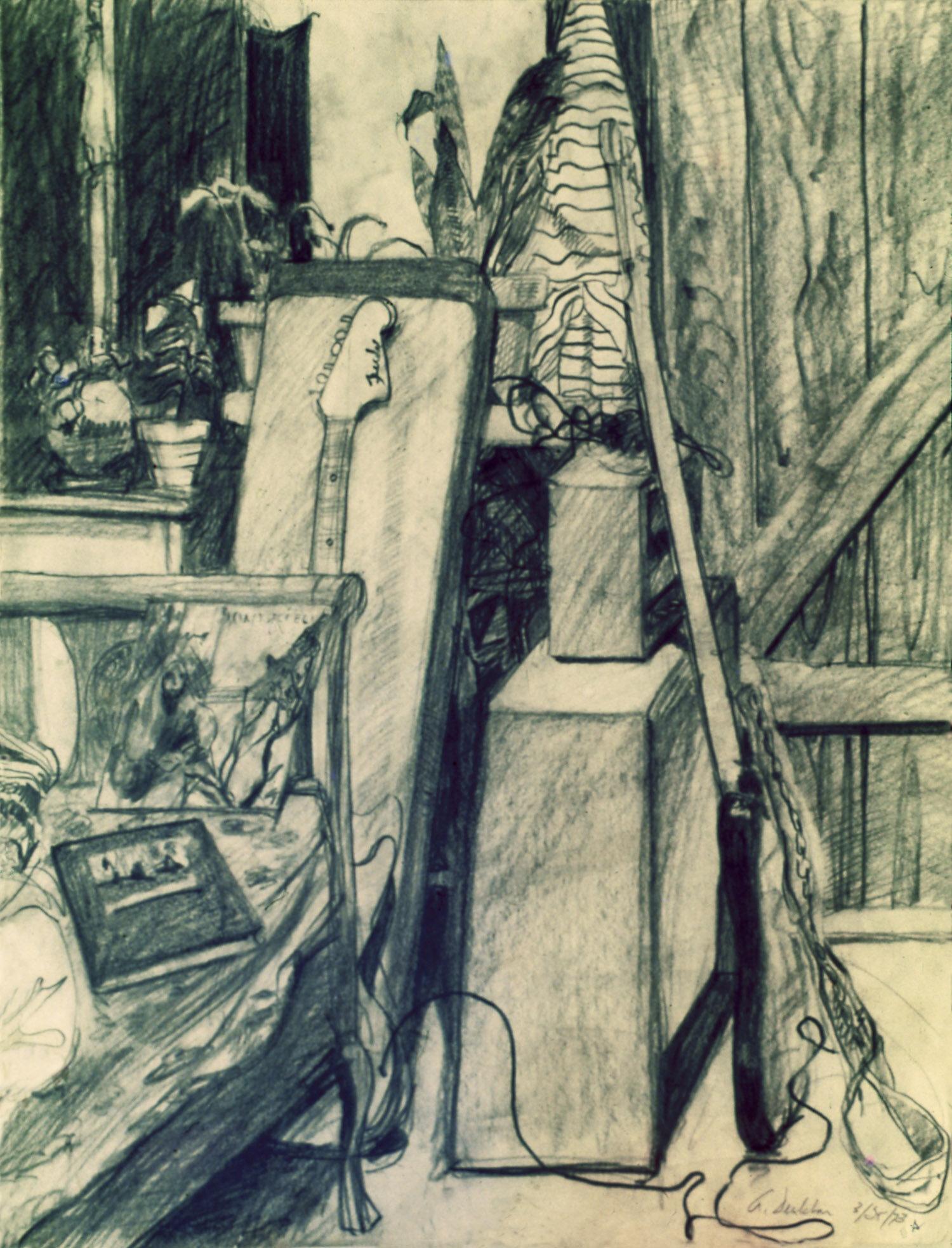 """The Cabin , graphite, 24"""" x 18"""", 1973"""