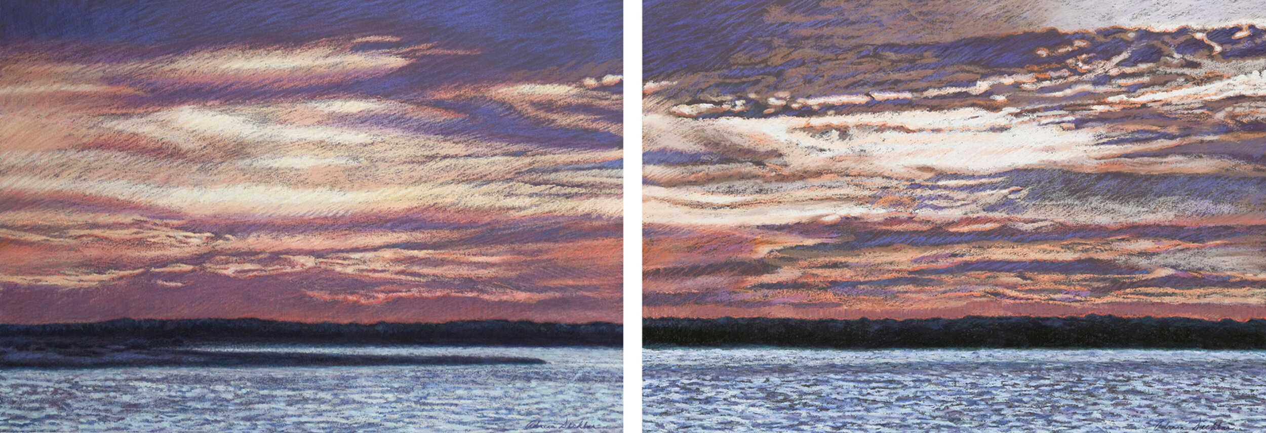 "Continuum I and II , pastel, 25"" x 68"", 2009"
