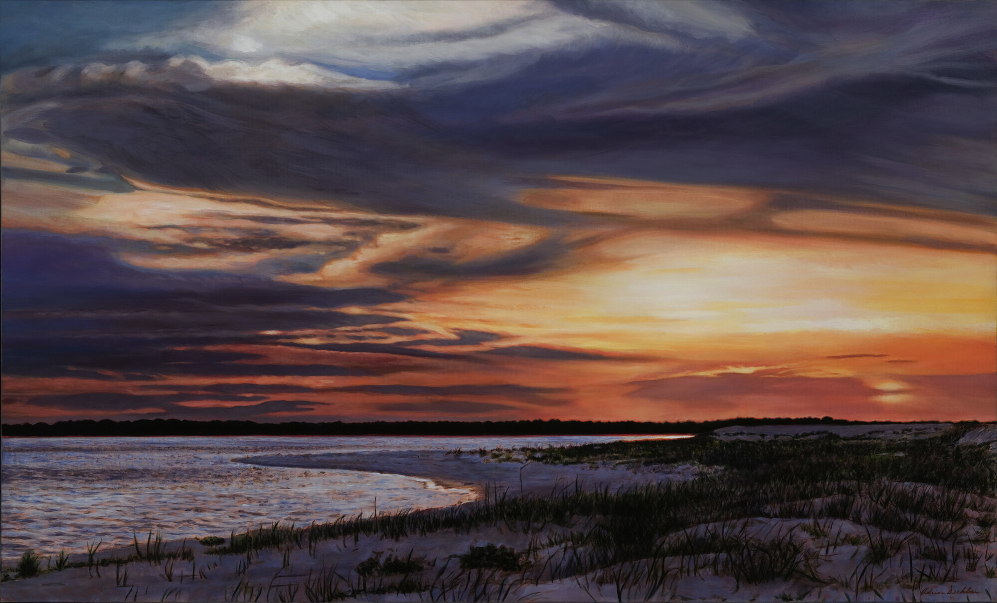 "Shoreline Sunset , oil over acrylic, 40"" x 60"", 2009"