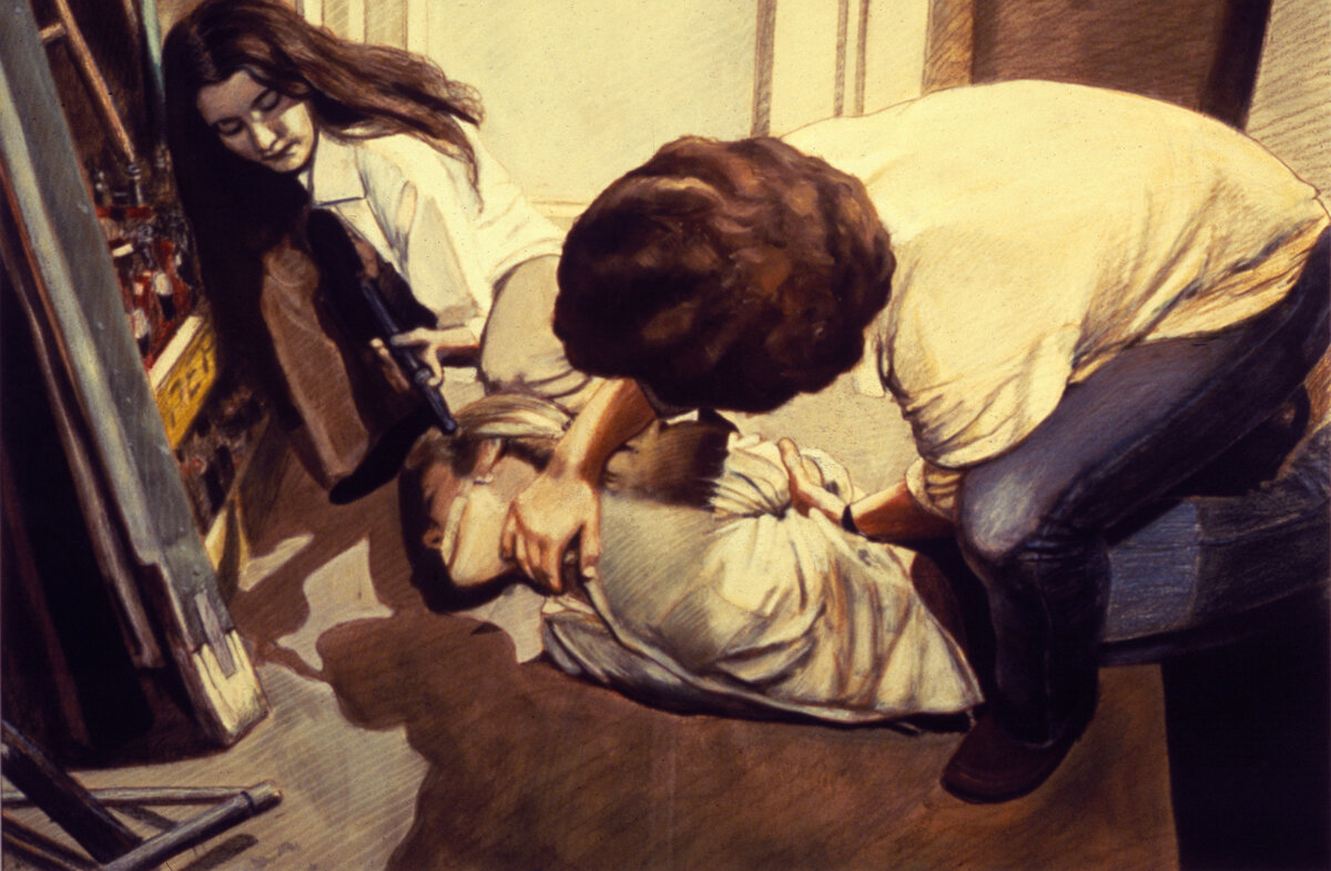 """Kidnap! III , oil wash with prismacolor pencil, 21"""" x 33"""", 1979"""