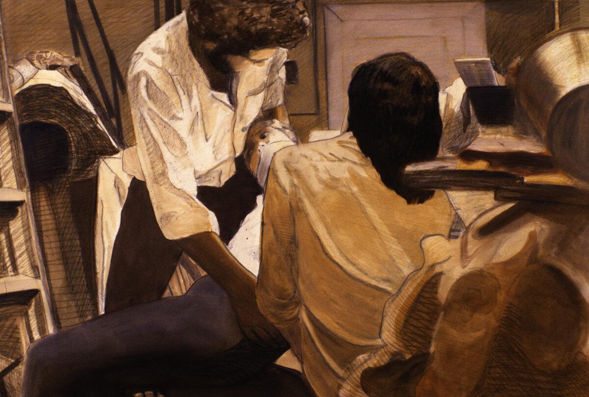 "Kidnap! V , oil wash with prismacolor pencil, 21"" x 33"", 1979"