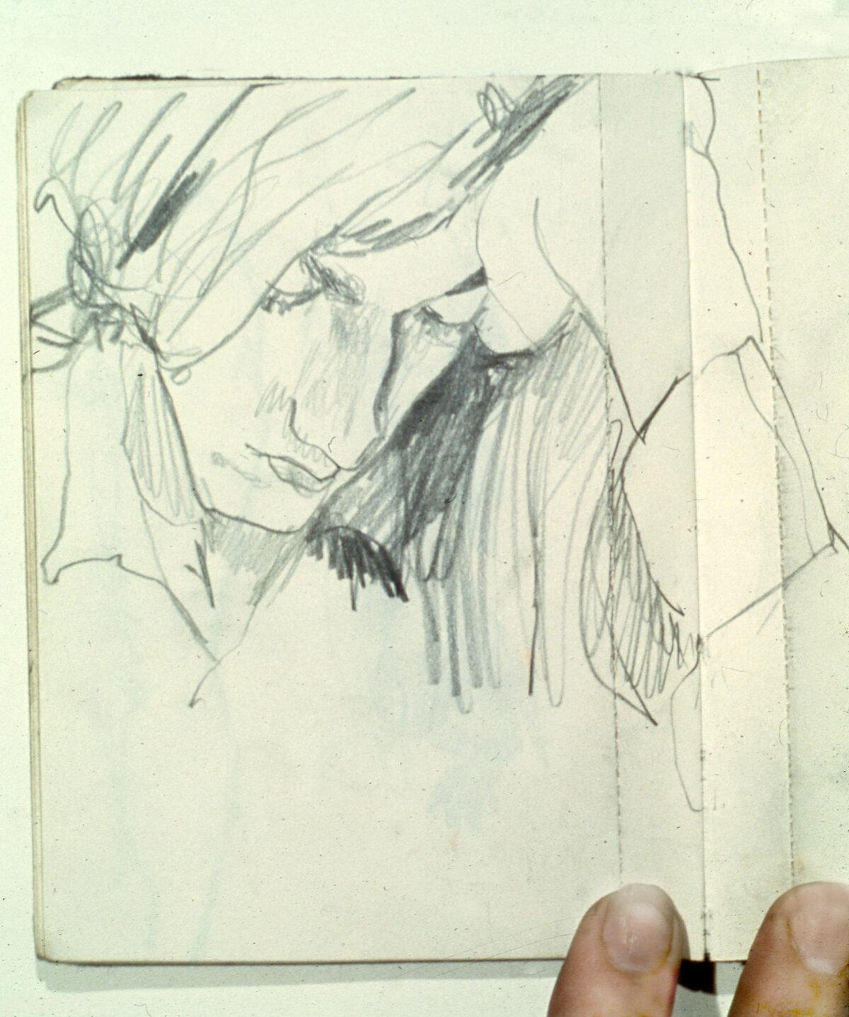 "David , graphite, 6"" x 4.5"", 1970"