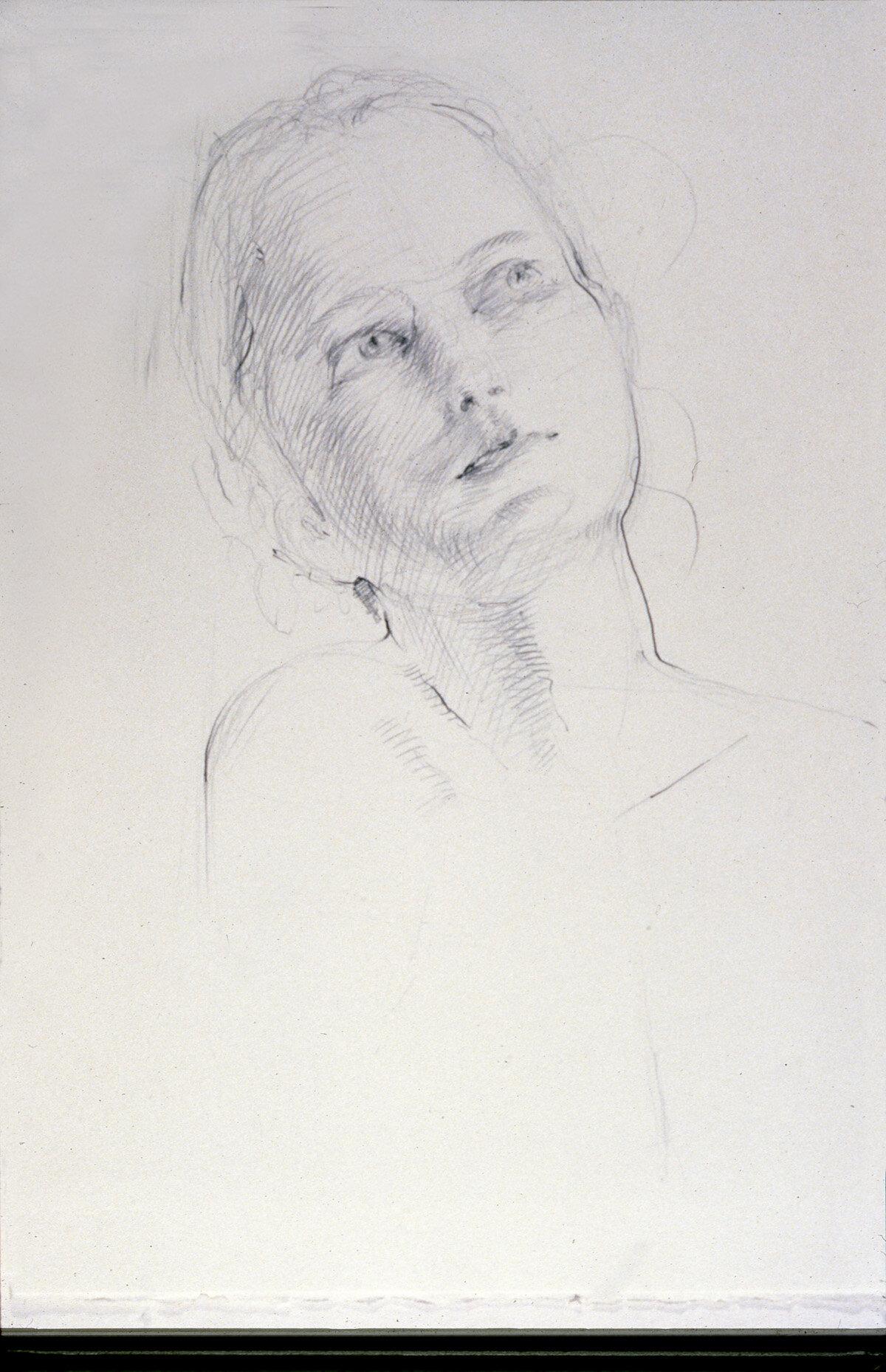 """Annabelle , graphite, 16"""" x 12"""", 1992"""