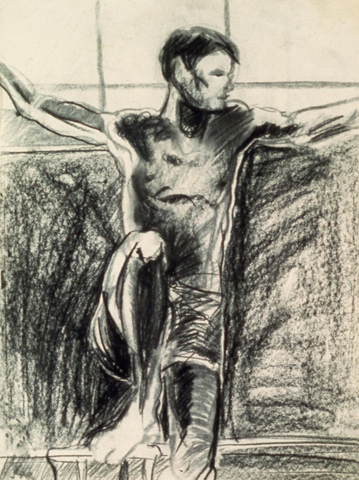 "Herman , charcoal, 24"" x 17"", 1970"