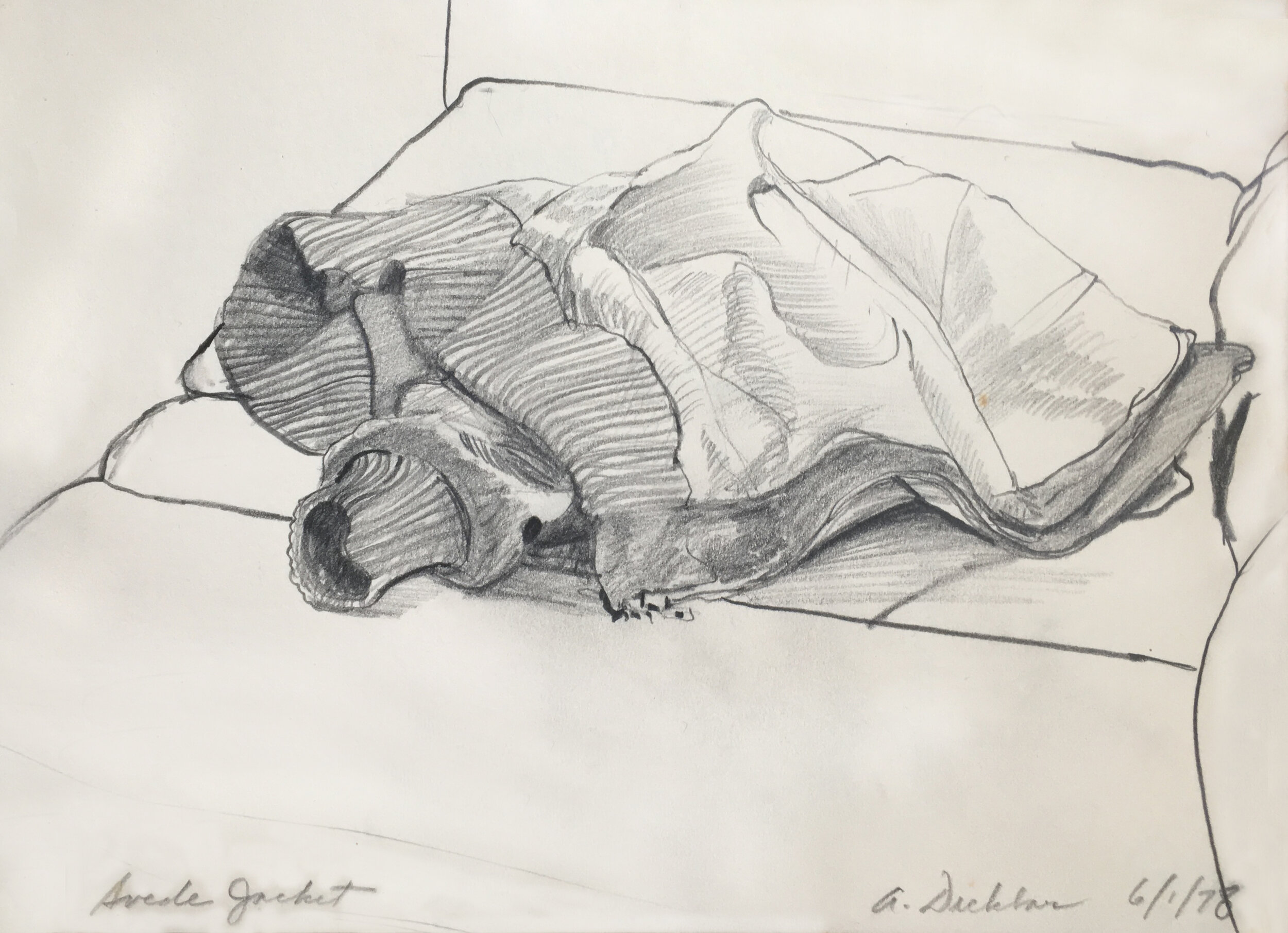 """Suede Jacket,  graphite, 8"""" x 11"""", 1978"""