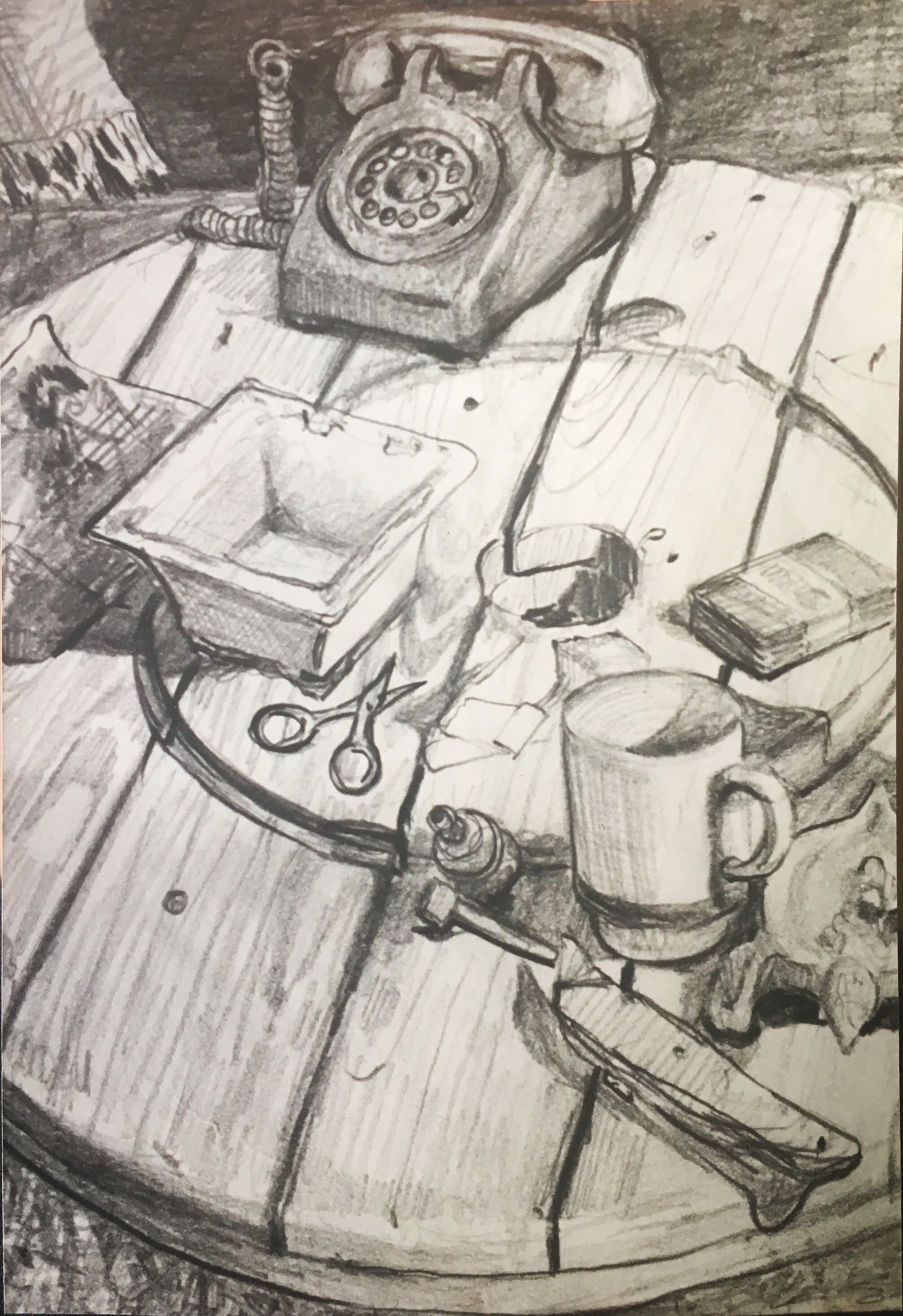 """Waller St. Coffee Table , graphite, 12"""" x 9"""", 1974"""
