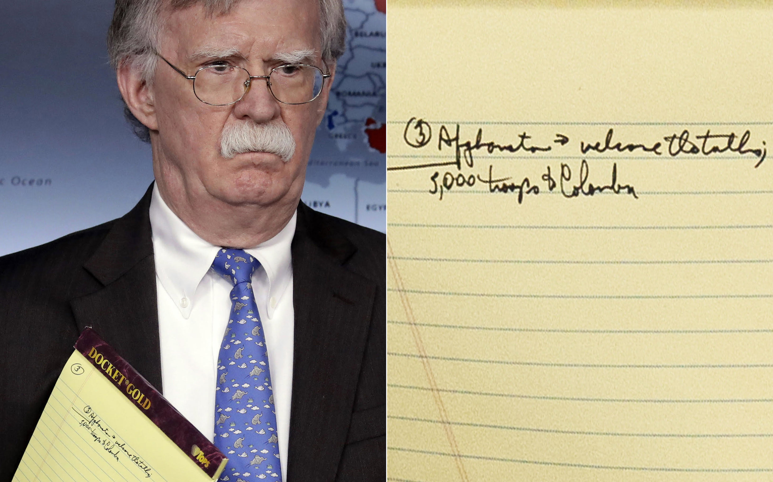 John Bolton - 5,000 Troops to Columbia note