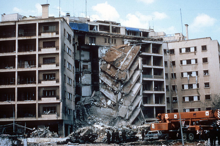 A view of the damage to the U.S. Embassy after the bombing.  PHOTOGRAPH BY US ARMY , PUBLIC DOMAIN