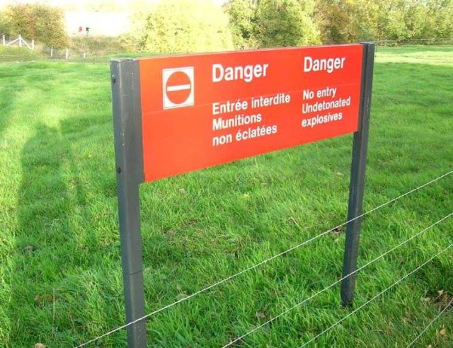 The RED ZONE sign - Verdun Forbidden Forest