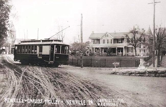 Fountain & Trolley, 1910