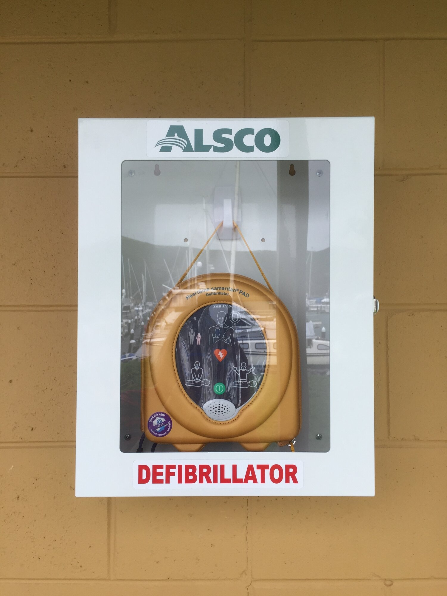 Our defib located under the Marina Office