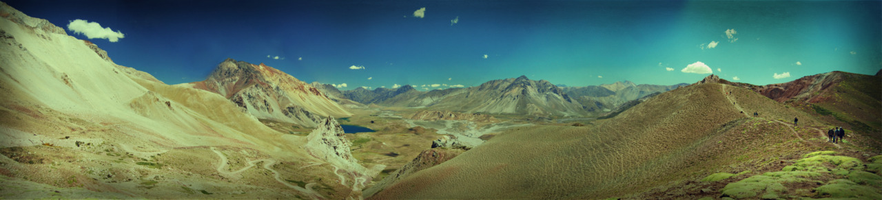 A panorama I took of Valle Hermosa. That there is Chile, over yonder.
