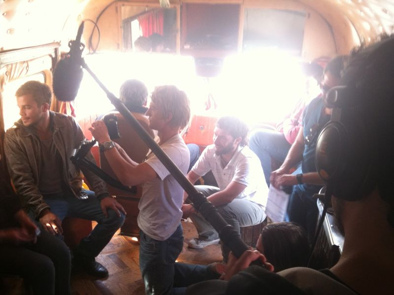 Here we were shooting a scene in the ol' bus, it was pretty funny so many people crowded in a little space as we rolled along.