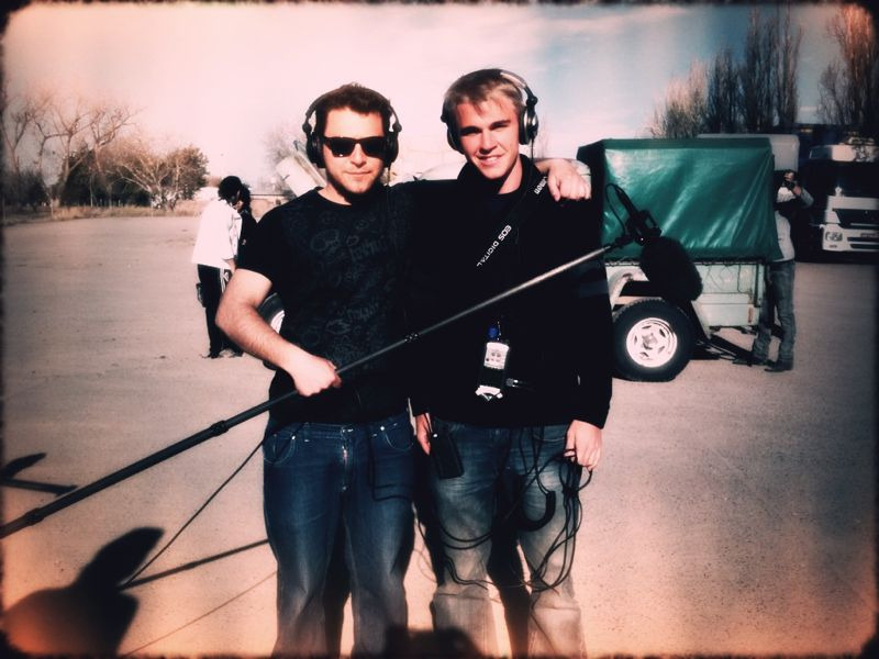 Me and Pablo, my sound assistant. The boom operator. Notice anything different about my hair?