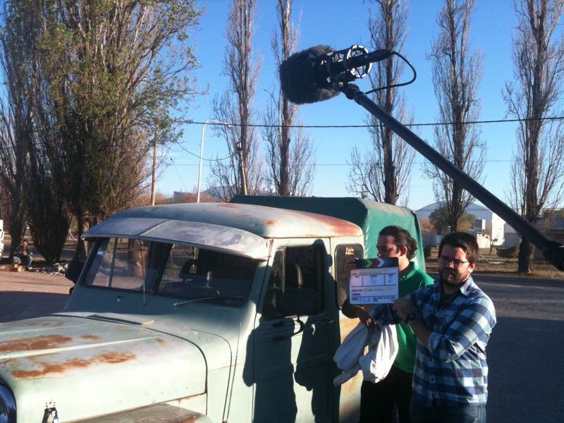 Shooting a scene with an extremely old truck. Leo was the designated driver, supposedly the blinker and the horn were wired backwards, which made for a funny ride.