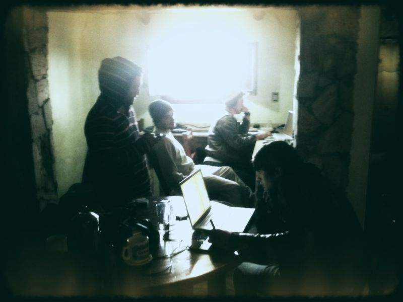 This is our HQ, where all the creating/editing takes place with the Santa Rosa howling outside.