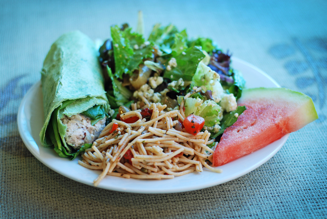 Today's Lunch at the cafe.    Tuna Spinach Wrap   Pasta Salad with fresh olives   Roasted Onion & Bleu Cheese Salad    This is quickly becoming a food blog…
