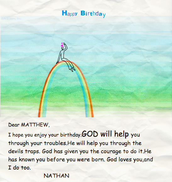 I got this card from my nephew Nathan for my birthday. Children make life so much more enjoyable…